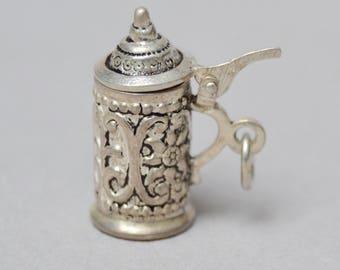 Opening Silver Beer Stein Charm Vintage Opening German Beer Stein Charm 800 Silver For Bracelet