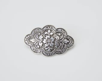 Vintage Small Sterling Flower Pin . Antique Flower Sterling Pin Brooch