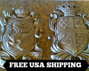 Set of 2 Shield wall plaques   Coat of Arms   Wall Decor   Medieval   Old World   Hand Painted   FleurDeLisJunkie   Crown   Knight   Eagle