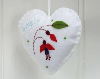 Sale * Christmas in July, Felt heart ornament, Irish ornament, Fuchsia flower hanging heart felt decoration, Dingle Ireland