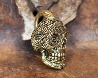 Brass Mexican Skull Ear Weights, Brass gauge, Gauge earrings, Stretcher earrings, Brass stretcher, Tribal jewellery, Boho jewelry, TRIBU