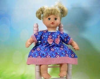 12 inch doll clothes made to fit dolls such as Corolle, Adora, Melissa & Doug, Red, White and Blue Dress w/ Panties, 05-2119