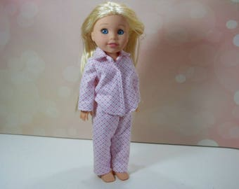 14 inch doll pajamas, 14.5 inch doll pajamas, Pink Plaid Pajamas, Fits Wellie Wishers, Fits Glitter Girls, 14 inch pjs,  10-2456