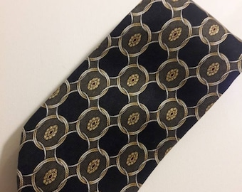 """Navy and olive green silk tie with interlocking gold circles by Ketch 59"""" long"""