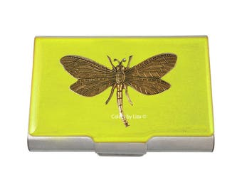 Dragonfly Large Business Card Case Hand Painted Yellow Opaque Glossy Enamel with Personalized and Color Options