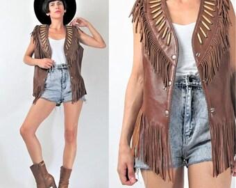 30% Off FLASH SALE 80s Vintage Leather FRINGE Vest Hippie Boho Biker Rocker Leather Vest Native American Brown Leather Vest Tribal Snaps Bon