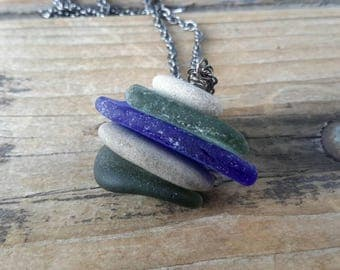 Sea Glass Cairn Necklace   Stacked Rock and Glass Cairn Pendant on Gunmetal Chain   Green, Cobalt Blue and Light Gray