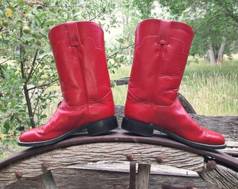 Vintage Women's Size 6 B red cowboy boots Tony Lama Roper boots, rockabilly leather boots, Fourth of July cowgirl boots, Wonder Woman boots
