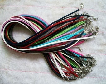 15pcs 16-18 inch assorted (15 colors) sample 2.5mm flat suede leather necklace cords with small finish