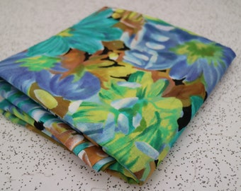 floral in blues and greens...vintage cotton voile yardage