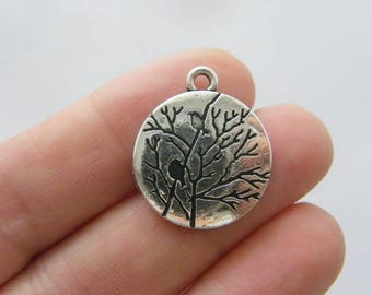 2 Tree bird charms antique silver tone T99