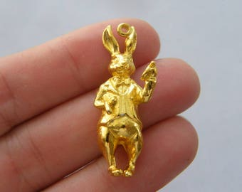 2 White rabbit charms gold plated tone GC18