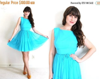 ON SALE 60s Dress / 1960s Dress / 1960s Turquoise Chiffon Party Dress