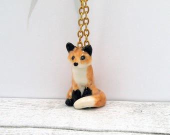 Porcelain Miniature ceramic red fox figurine pendant hand crafted Australian pottery Anita Reay AnitaReayArt fox art fox jewellery
