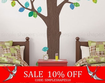 Summer Sale - Wall Decal Trees, Pattern Tree with Leaves Ceiling Style - Peel and Stick Repositionable Stickers