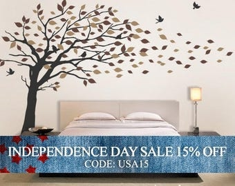 Independence Day Sale - Vinyl Wall Art Decal Sticker - Blowing Leaves Tree - LARGE