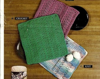 Knitting and Crochet Pattern - Dishcloths/Washcloths 3 Designs - Immediate download PDF