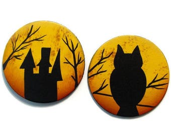 Set of 2 Halloween Moon Silhouette Fridge Magnets or Ornaments, Handpainted Wood, Hand Painted Refrigerator Magnets, Tole Painting