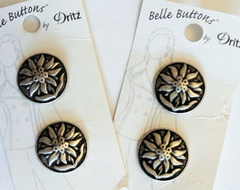 "Edelweiss metal buttons, silver color, flower shank buttons, 4 Dritz Belle Buttons, 7/8"" new on card, craft buttons, sewing supply, destash"