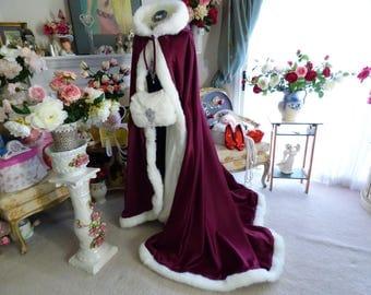 Medieval Celtic Wedding 52/67 inch Bridal Cape Burgundy / Ivory Satin with Fur Wedding Cloak Handmade in USA
