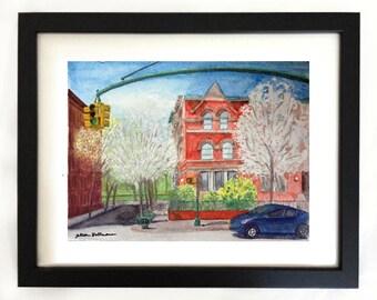 Art Print West 115th Street Harlem NYC Watercolor Painting