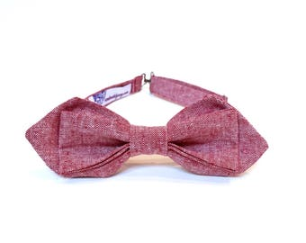 Red Linen Bow Tie mens bowties Red Bow Tie linen bowtie Chambray Bow Tie faded red adjustable bow tie Diamond Point Bow Tie pretied bowties