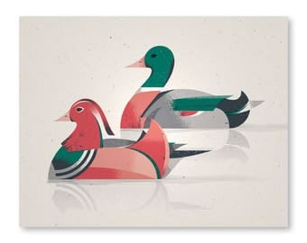 "Ducks Print - 11"" x 14"" Print on French Speckletone Madero Beach, Vintage Inspired"