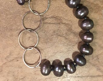 Fresh water pearls with sterling silver bracelet