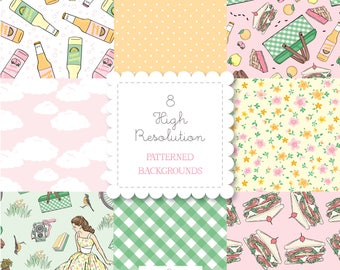 Retro PICNIC Themed Patterned Backgrounds set-instant download-for personal use -digital papers, pie, sandwiches, soda, bando, happy planner