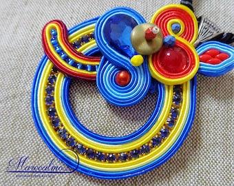 Geometric necklace, soutache necklace, Boho hoop necklace, embroidered necklace, Math ncklace, teacher necklace, italian sicily pendant