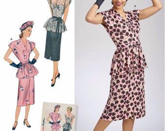 1940's Vintage 2 Piece Dress Pattern, Simplicity Sewing Pattern 8463