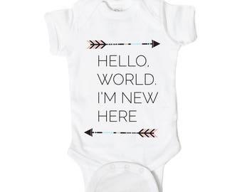 Hello World Newborn Gift Onesie