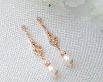 Wedding Earrings Rose Gold, Vintage Style Wedding Earrings, Bridal Jewelry, Long Pearl Earrings, Rose Gold Bridal Earrings, Lisa Earrings