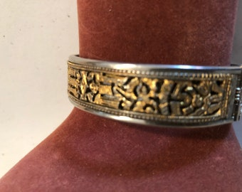 Silvertone/goldtone clamper bangle