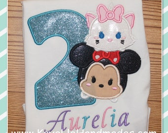 Embroidered Shirt - Birthday Shirt - Custom - Tsum - Marie - Girl Mouse with Bow