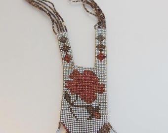 ON SALE Gorgeous Vintage Art Deco 1920's Metalic Bead Flapper Necklace
