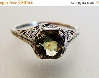 ON SALE Pretty Vintage Deco Style Lemon Citrine Filigree Ring