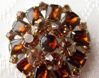 Weiss Vintage Brooch with Amber Stones Estate Jewelry Mid Century