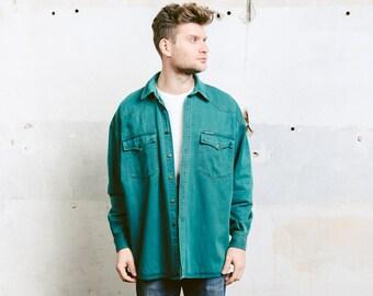 Vintage 90s Men Denim Shirt . Dark Green Shirt Minimalist Shirt 90s Grunge Jacket Overshirt Boyfriend Gift . size Extra Large XL