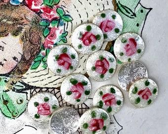 6 Vintage Floral Guilloche cabochons,8mm Vintage guilloche,Enamel Cabochons,shabby chic cabochons, cottage chic findings G18D