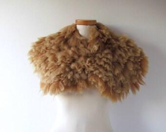 Alpaca Fur collar Fluffy Felted collar Beige felt collar  Alpaca wool collar  Fur scarf  Pure Wool Fleece real fur scarf outdoors gift