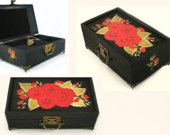 Hand Painted Jewelry Box - Velvety Red Roses, GOLD Leaves - Classic Custom Jewelry Box Personalized Christmas Gift Ideas
