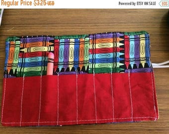 Christmas IN JULY SALE Crayon Roll up crayon fabric