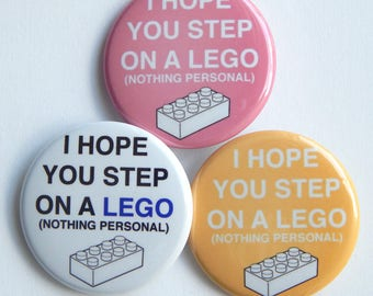 """Step on A Lego 1.5"""" Lego Brick Gift, Toddler Mom Fridge Magnet, Stocking Stuffer Button, Locker Decoration, Funny Small Gift, Pin For Jacket"""