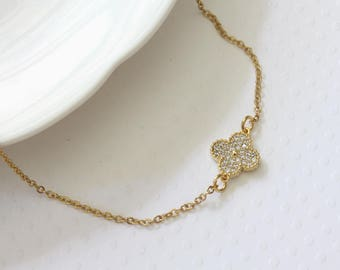 Tiny Flower Necklace - Gold Four Leaf Flower Necklace - Dainty Flower Necklace - Quatrefoil Necklace - Celebrity Inspired