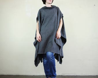 Oversize Chic Modern Casual Short Sleeve Dark Heather Gray Brushed Cotton Mix Polyester Cocoon Cape Cloak Poncho Women Outerwear P317