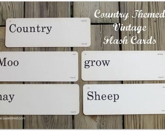 Country Themed Vintage Flashcards set of 5