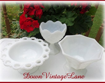 Vintage Collection of Milk Glass 3 Milk Glass Vases Dishes