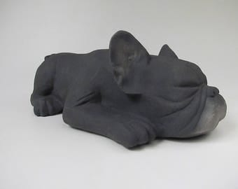 Black Frenchie Cremain Urn in Stoneware