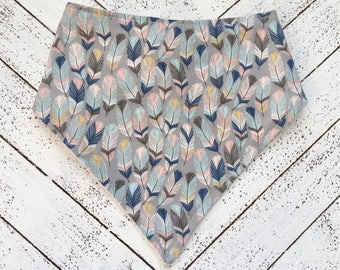 Baby Bib - Bibdana - Bandana Style Bib - Baby Girl - Baby Shower Gift - Feathers - Tribal Feather Print in Gray Blue and Pink
